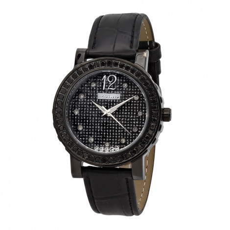 JoJino Womens Black Diamond Watch Floating Stones 2ct Iced Out Dial Leather Band Main Image