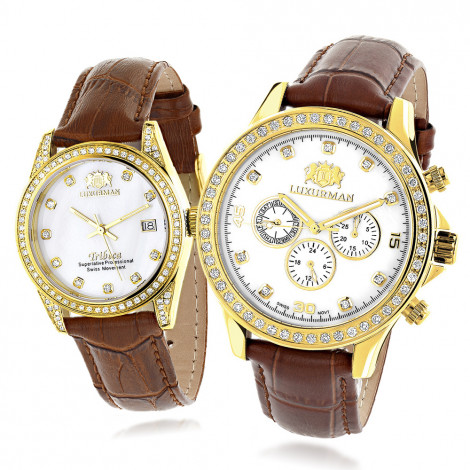 Luxurman Matching His & Hers Yellow Gold Plated Diamond Watches Leather Band Main Image
