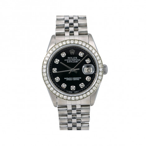 Mens Rolex Oyster Perpetual Datejust Watch 36mm Black Diamond Dial 1.4ct 16014 Main Image