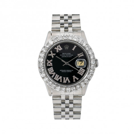 Mens Rolex Oyster Perpetual Datejust Watch 36mm Black Diamond Dial 3.25Ct Main Image