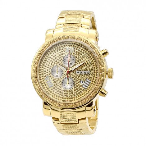 Oversized JoJino Chronograph Mens Diamond Watch Roman Numerals Iced Out Yellow Dial Main Image