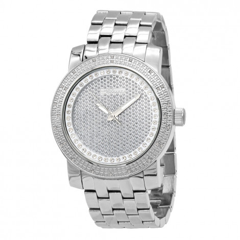 Oversized JoJino Men's Diamond Watch 0.25ctw Iced Out Silver Dial Main Image