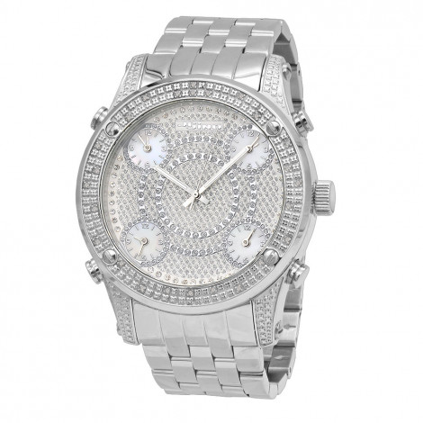 Oversized JoJino Mens Diamond Watch Five Time Zones White Iced Out Dial 0.25ct Main Image