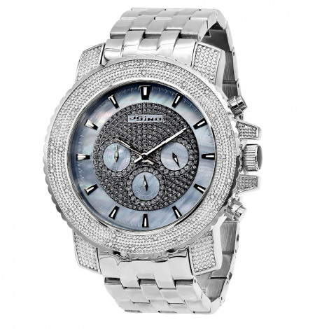 Oversized Men's Diamond Watch Chronograph 0.25ct Blue MOP Iced Out Dial Main Image