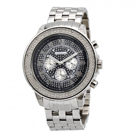 Oversized Real Diamond Watch for Men by Jojino Black Iced Out Dial 0.25ct Main Image
