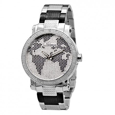 Unique Black & White Iced Out Diamond Watch for Men with World Map 0.25ct Main Image