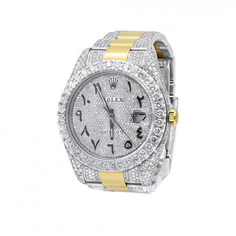 Unique Mens Rolex Diamond Datejust Watch 41mm Arabic Numbers Iced Out Dial 18k Gold & Steel Main Image