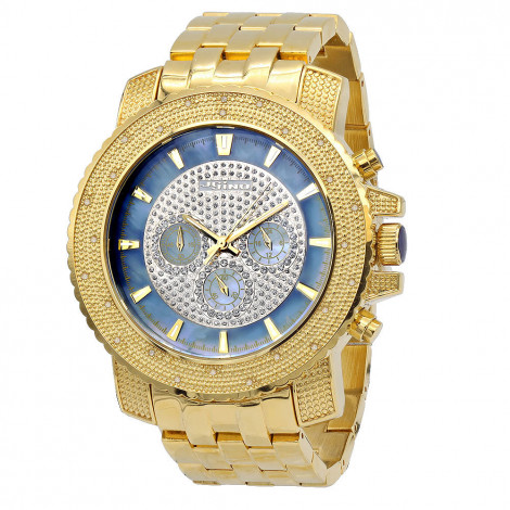 Yellow JoJino Chronograph Large Mens Diamond Watch 0.25ct Iced Out Blue MOP Dial Main Image