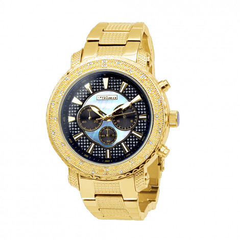 Yellow JoJino Chronograph Large Mens Diamond Watch Iced Out Blue MOP Dial Main Image