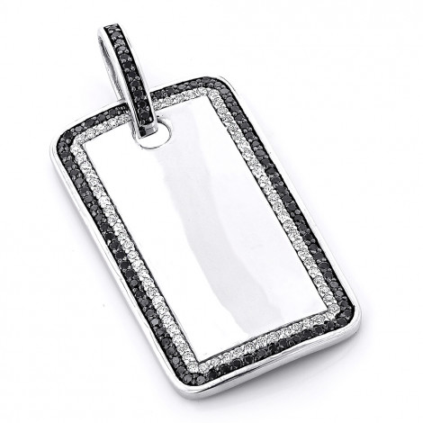 White and Black Diamond Dog Tag Pendant 1.5ct Sterling Silver Main Image