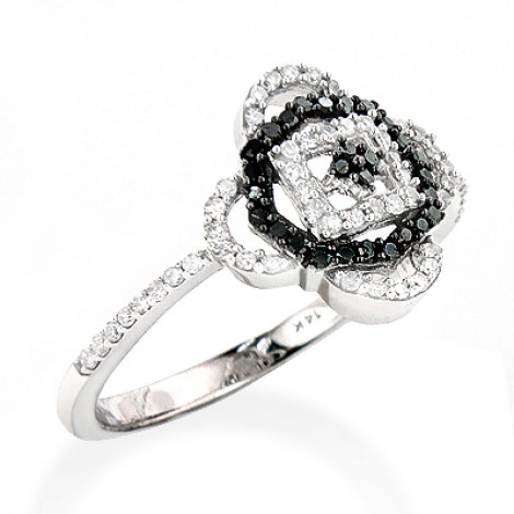 White Black Diamond Ring for Ladies 0.31ct 14K Gold is $127 (71% off)