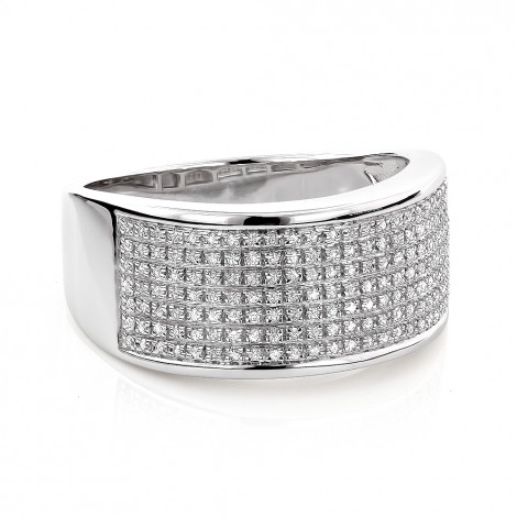 Wide Diamond Wedding Band in Sterling Silver 0.32ct Ladies Mens Main Image