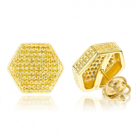 Large Yellow Diamond Earrings 0.75ct Sterling Silver Main Image