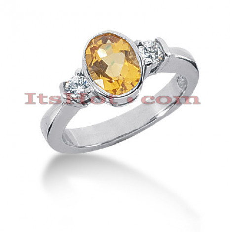 Ultra Thin Yellow Sapphire Engagement Ring with Diamonds 14K 0.24ctd 1.25cts Main Image