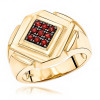 14K Gold Ruby Mens Ring by Luxurman