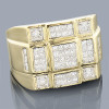 14K White Gold Round Princess Cut Diamond Ring for Men 1.36ct
