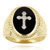 14K White Gold Black Onyx Mens Ring Cross Detail