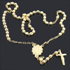 14K Yellow Gold Rosary beads necklace 26 in.