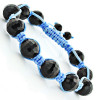 Black Disco Ball Bracelet with Blue String