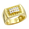 14K Gold Mens Diamond Pinky Ring White Yellow 0.60ct