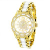 Luxurman Ladies Diamond Ceramic Watch 1.25ct White MOP Galaxy Yellow Gold