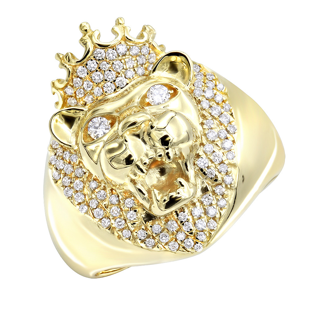 14k Gold Mens King Lion Head Ring with Diamonds and Crown Pinky Ring 0.55ct