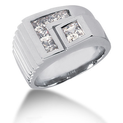 Platinum Men's Princess Diamonds Ring 0.97ct