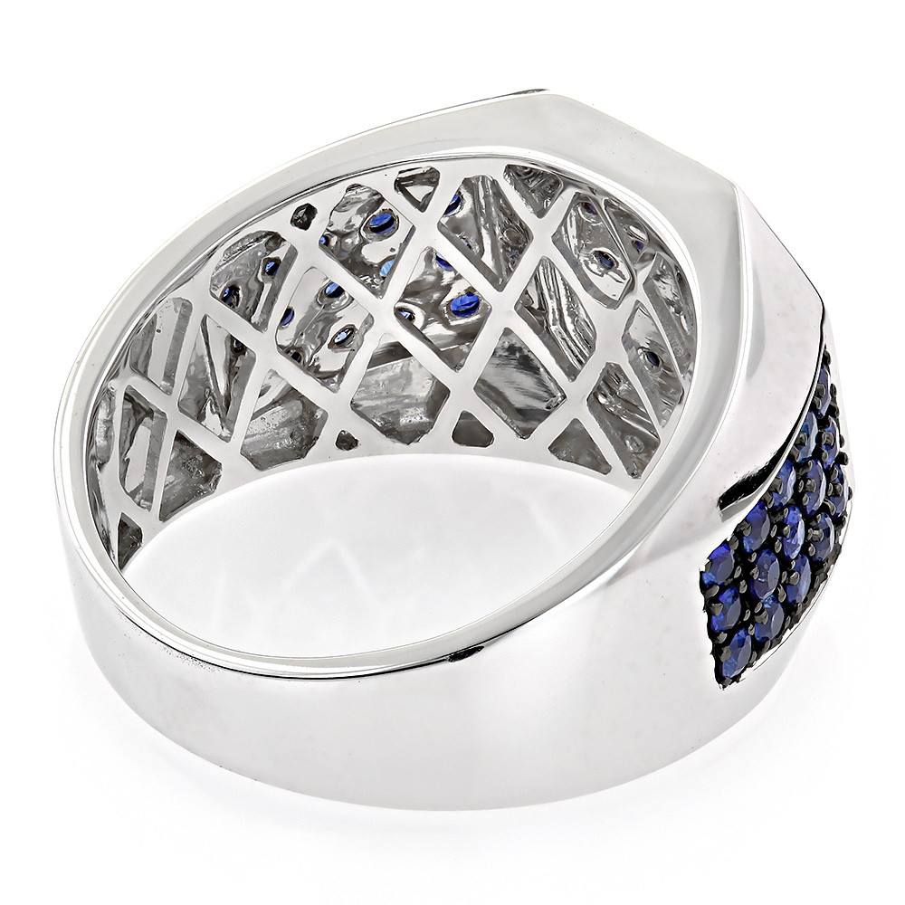 Unique 14K Gold Diamond and Blue Sapphire Mens Ring by Luxurman 1.8ctw