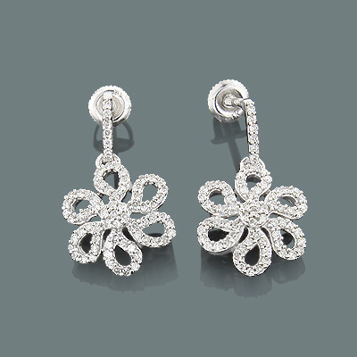 Dangle Diamond Flower Earrings 0.53ct 14K Gold