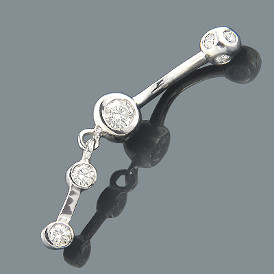 Dangling Belly Rings 14K Diamond Belly Button Ring 0.72 Main Image