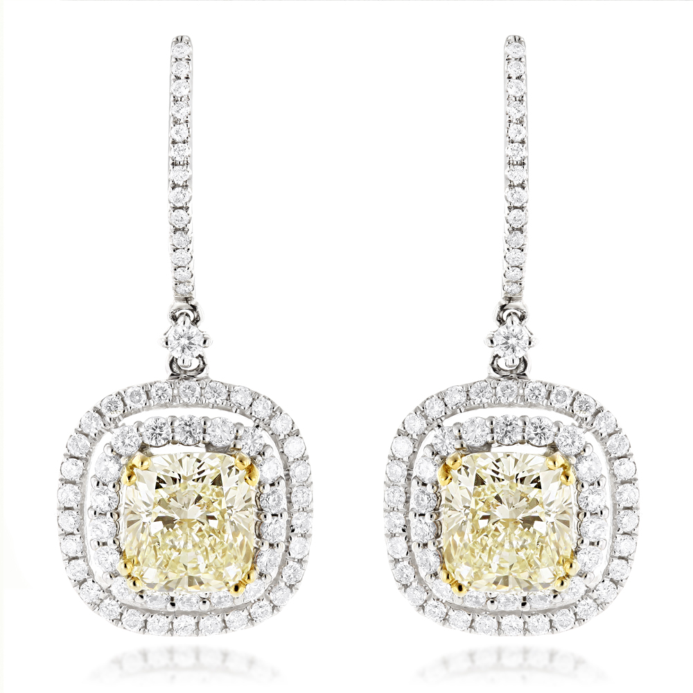 Dangling Designer Diamond Drop Earrings 6.5ct 18K Gold Yellow Diamonds White Image