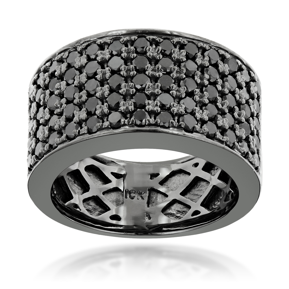 Designer 10K Gold Black Diamond Wedding Band for Men 1.67ct Luxurman Ring Main Image