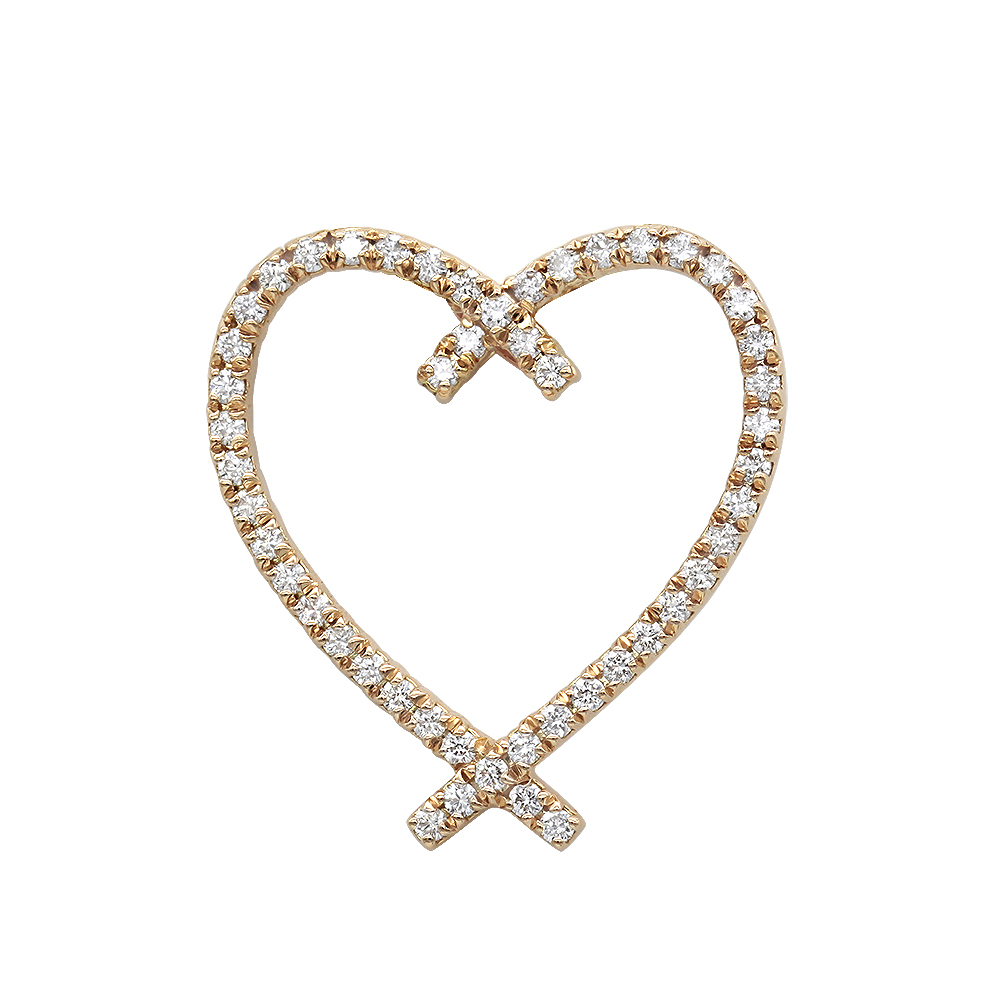 Designer 14 Karat Gold Diamond Heart Pendant 0.63ct Rose Image