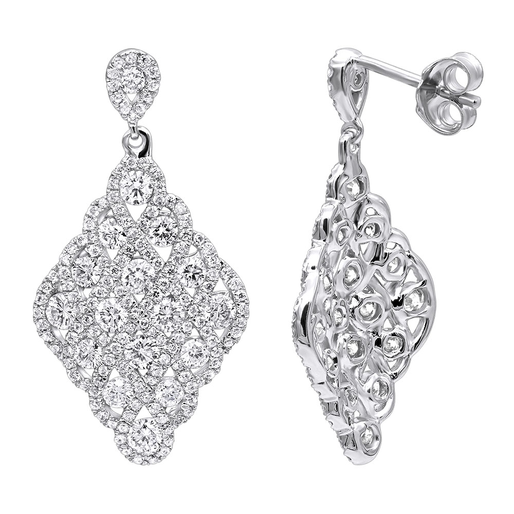 Designer 14k Gold Diamond Drop Earrings for Women 2.5 Carat Vintage Style White Image