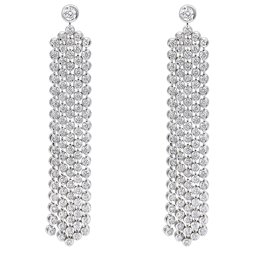 Designer 14K Gold Waterfall Diamond Drop Earrings for Women 5ct by Luxurman White Image
