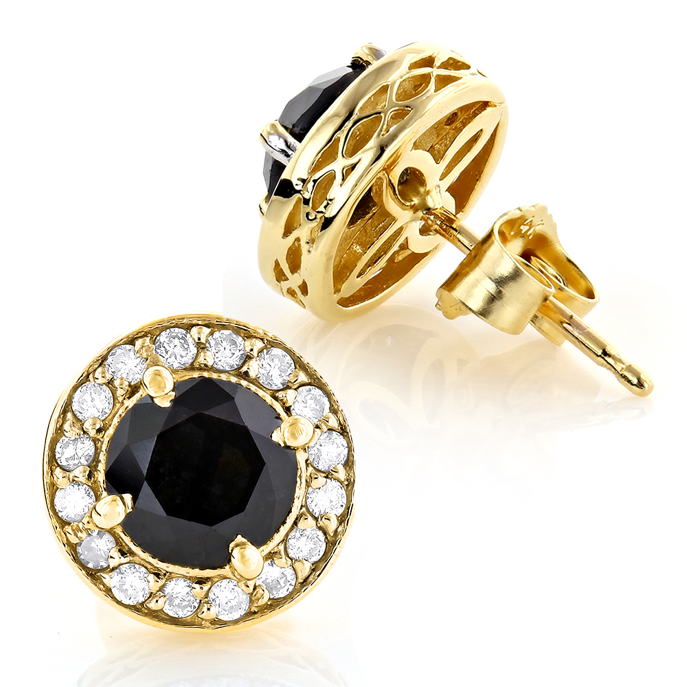 Designer 14K Gold White Black Diamond Stud Earrings 1.92ct Yellow Image