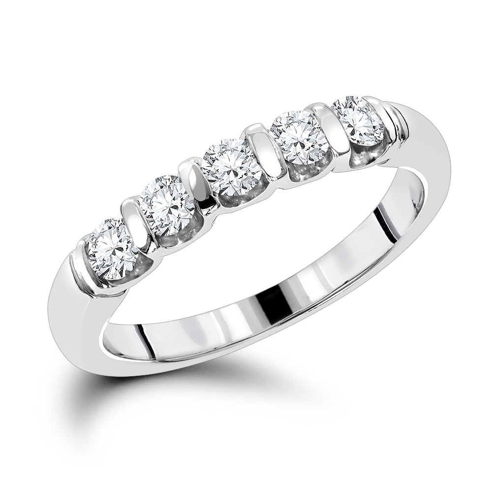 Thin Designer 5 Stone Diamond Wedding Band for Women 14K Gold Round Diamonds White Image
