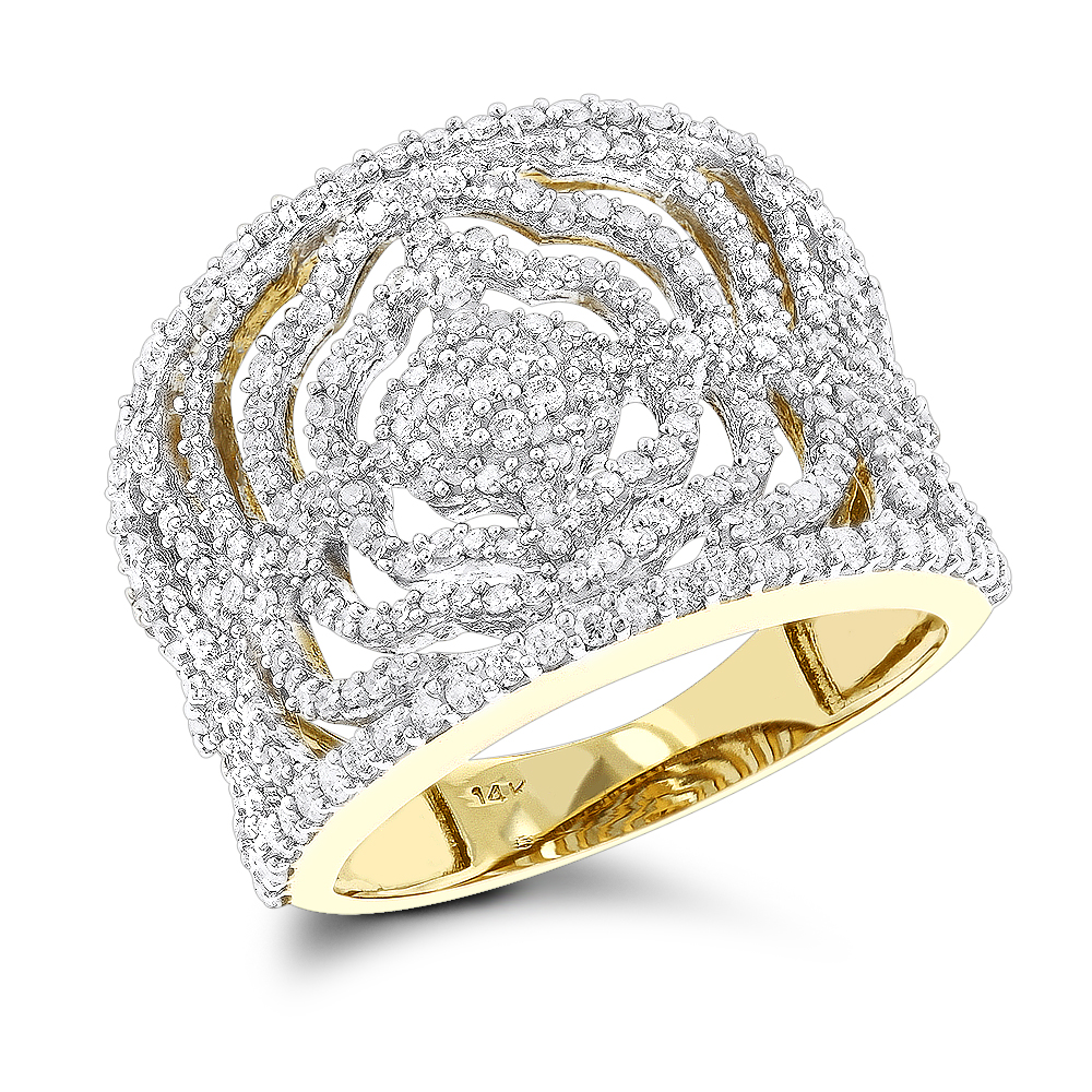 Designer Bands: 14K Diamond Floral Ring 1.05ct Yellow Image