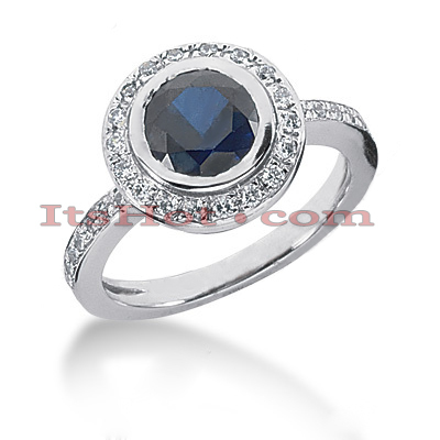 Ultra Thin Designer Blue Sapphire Diamond Engagement Ring 14K 0.36ctd 1.5cts Main Image