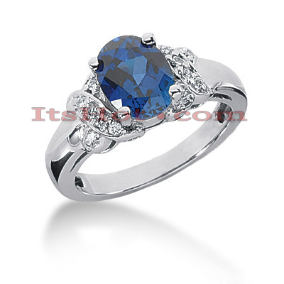 Designer Blue Sapphire Engagement Ring 14K 0.12ctd 2cts Main Image