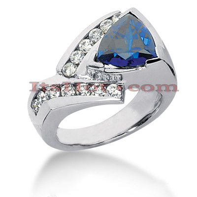 Designer Blue Sapphire Engagement Ring 14K 0.56ctd 1.50cts Main Image