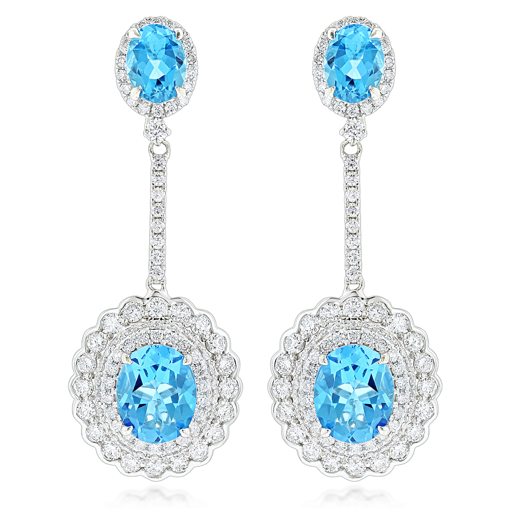 Designer Blue Topaz Diamond Earrings for Women by Luxurman 3.5ct 14K Gold White Image
