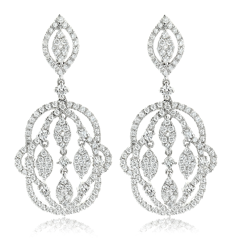 Designer Chandelier Diamond Earrings for Women 2.5ct 14K White Gold White Image