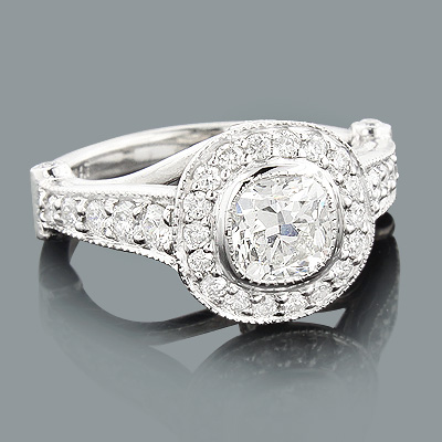 Designer Cushion Cut Diamond Engagement Ring 1.7ct Platinum Halo