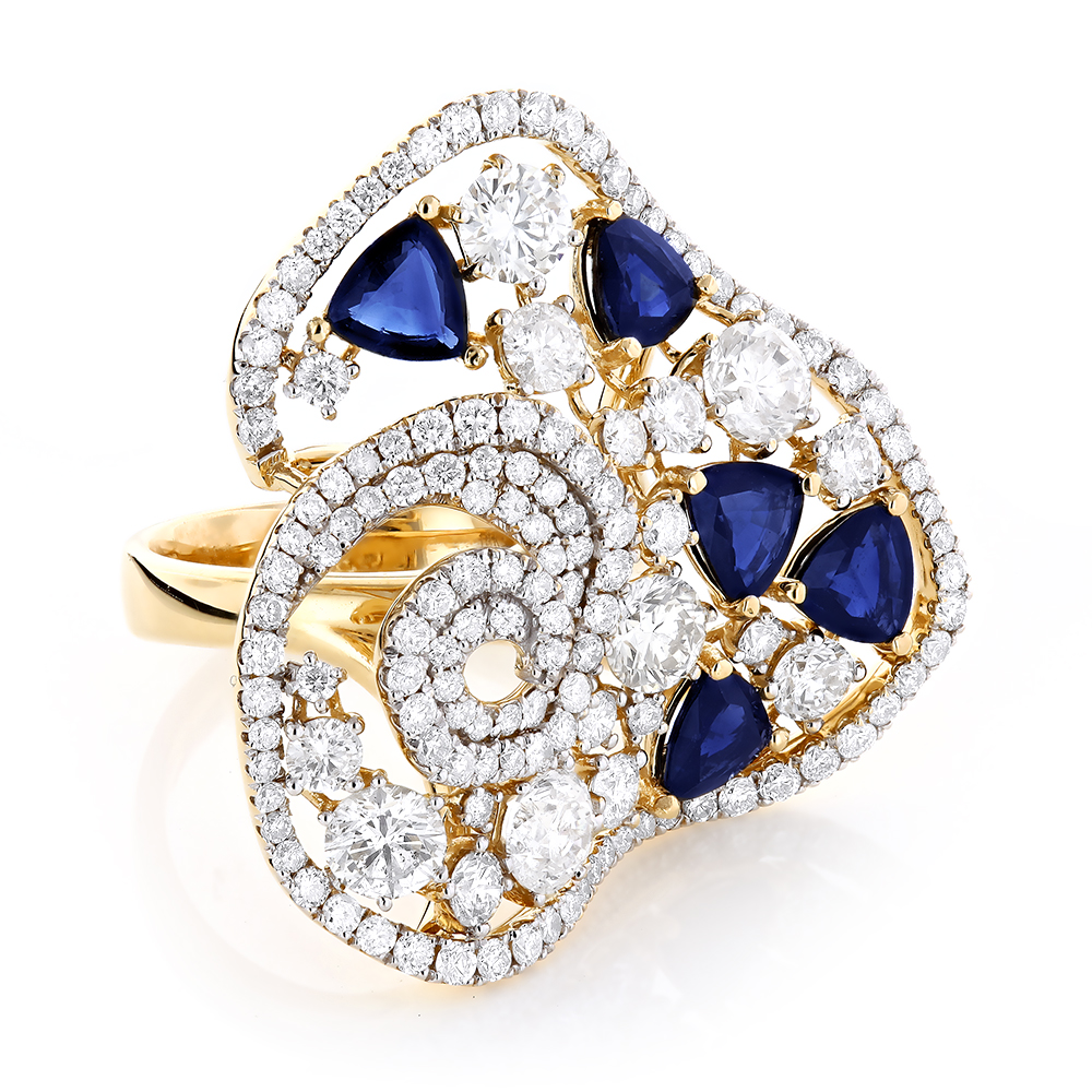 solid diamond certified cocktail vintage rings sapphire natural p ring gold