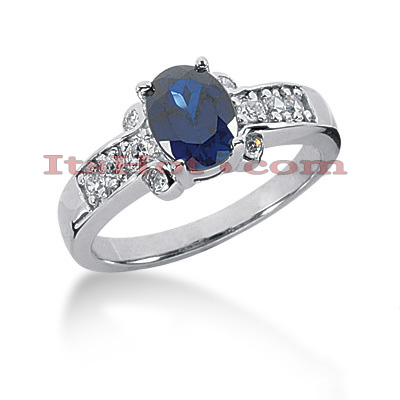 Designer Diamond and Blue Sapphire Engagement Ring 14K 0.27ctd 1.25cts Main Image
