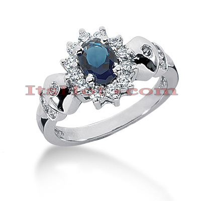Designer Diamond and Blue Sapphire Engagement Ring 14K 0.36ctd 0.75cts 12mm Main Image