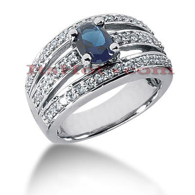 Designer Diamond and Blue Sapphire Engagement Ring 14K 0.51ctd 0.75cts Main Image