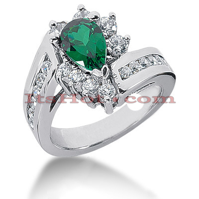 Designer Diamond and Emerald Engagement Ring 14K 0.96ctd 1.50cte Main Image