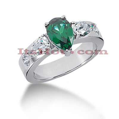 Designer Diamond and Emerald Engagement Ring 14K 1.00ctd 1.00cte Main Image